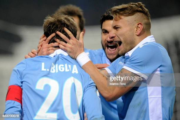 Lucas Biglia of SS Lazio celebrates a second goal a penalty during the TIM Cup match between FC Internazionale and SS Lazio at Stadio Giuseppe Meazza...