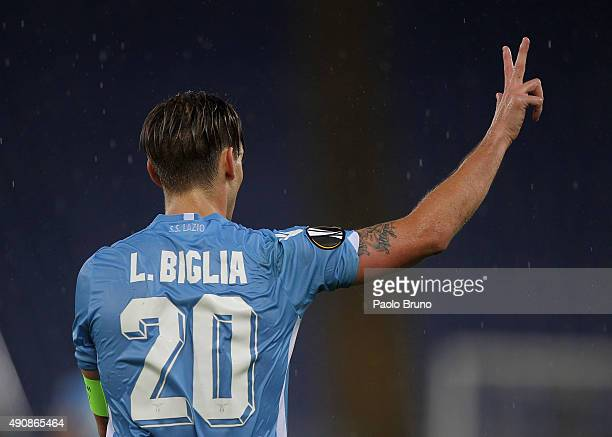 Lucas Biglia of SS Lazio celebrates after scoring the team's third goal during the UEFA Europa League group G match between SS Lazio and AS...