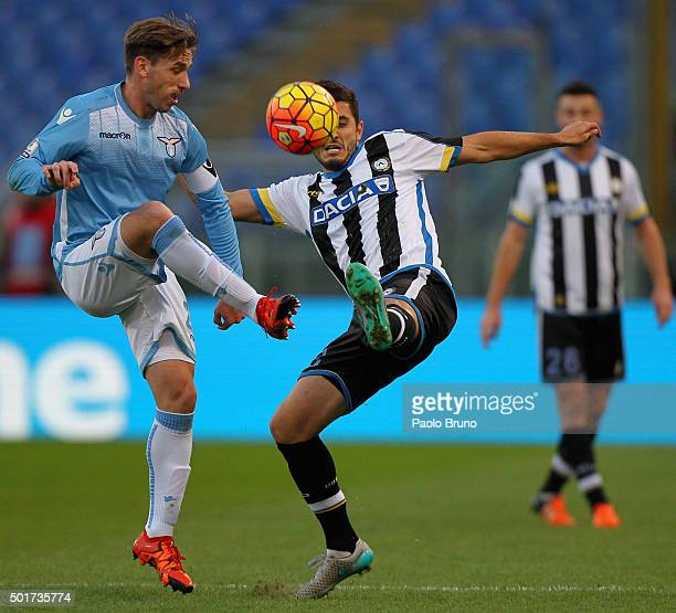 Lucas Biglia of SS Lazio competes for the ball with Marco Antonio Marquinho of Udinese Calcio during the TIM Cup match between SS Lazio and Udinese...
