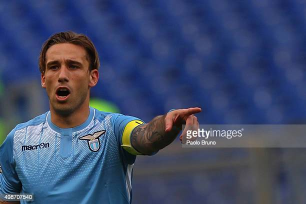 Lucas Biglia of SS Lazio gestures during the Serie A match between SS Lazio and US Citta di Palermo at Stadio Olimpico on November 22 2015 in Rome...