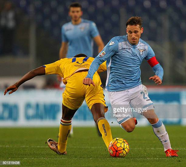 Lucas Biglia of SS Lazio in action during the Serie A match betweeen SS Lazio and UC Sampdoria at Stadio Olimpico on December 14 2015 in Rome Italy