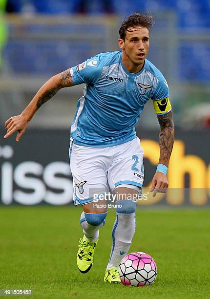 Lucas Biglia of SS Lazio in action during the Serie A match between SS Lazio and Frosinone Calcio at Stadio Olimpico on October 4 2015 in Rome Italy