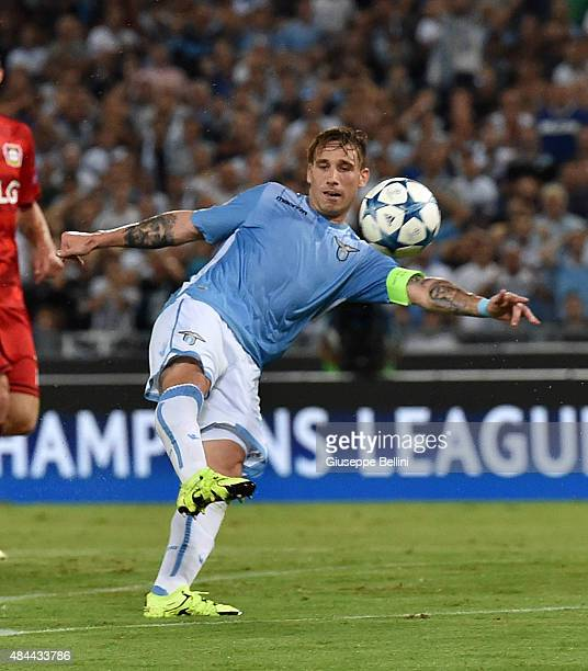 Lucas Biglia of SS Lazio in action during the UEFA Champions League qualifying round play off first leg match between SS Lazio and Bayer Leverkusen...