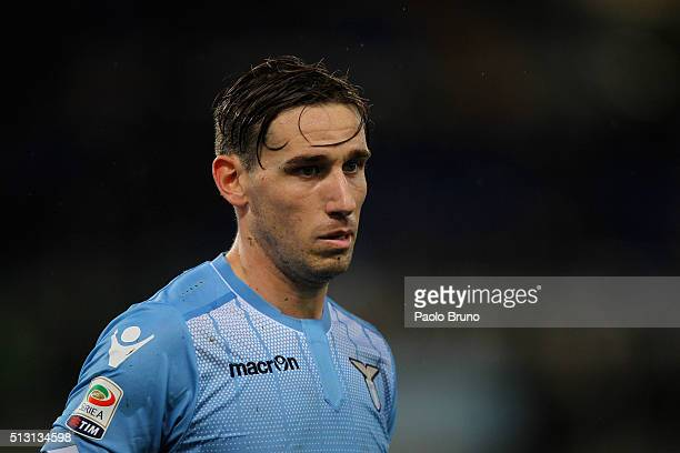 Lucas Biglia of SS Lazio looks on during the Serie A match between SS Lazio and US Sassuolo Calcio at Stadio Olimpico on February 29 2016 in Rome...