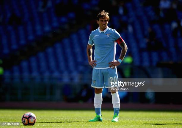 Lucas Biglia of SS lazio looks on during the Serie A match between SS Lazio and US Citta di Palermo at Stadio Olimpico on April 23 2017 in Rome Italy