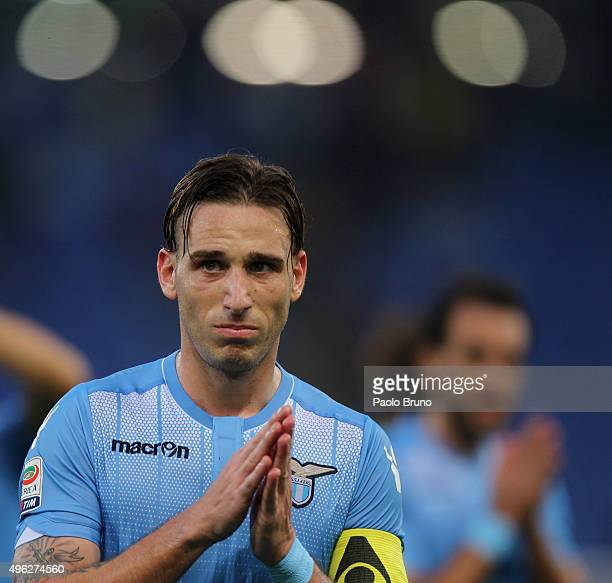Lucas Biglia of SS Lazio reacts after the Serie A match between AS Roma and SS Lazio at Stadio Olimpico on November 8 2015 in Rome Italy