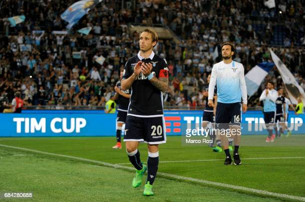 Lucas Biglia of SS Lazio reacts at the end of the match after the TIM Cup Final match between SS Lazio and Juventus FC at Olimpico Stadium on May 17...