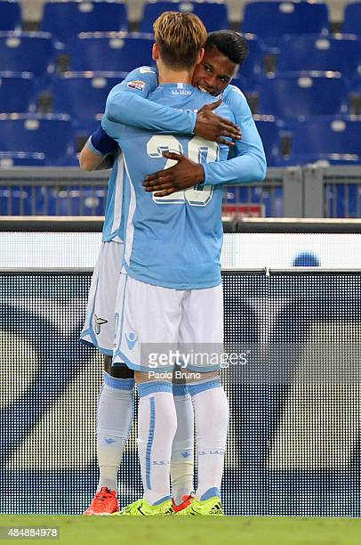 Lucas Biglia with his teammate Diao Keita Balde of SS Lazio celebrates after scoring the opening goal during the Serie A match between SS Lazio and...