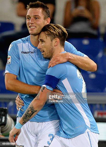 Lucas Biglia with his teammate Stefan De Vrij of SS Lazio celebrates after scoring the opening goal during the Serie A match between SS Lazio and...