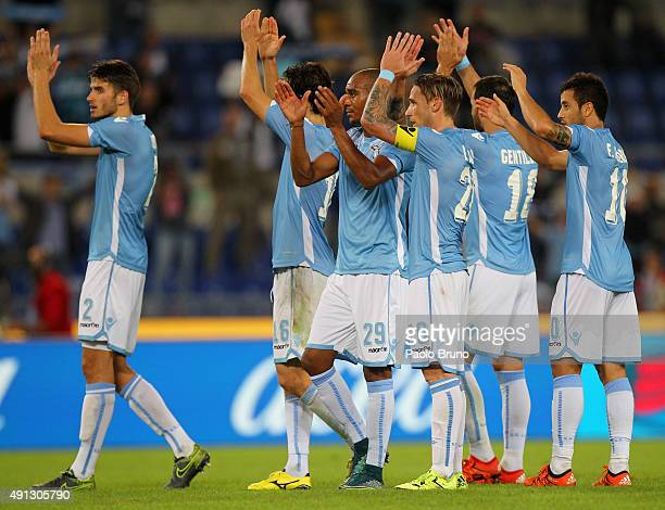 Lucas Biglia with his teammates of SS Lazio celebrates the victory after the Serie A match between SS Lazio and Frosinone Calcio at Stadio Olimpico...