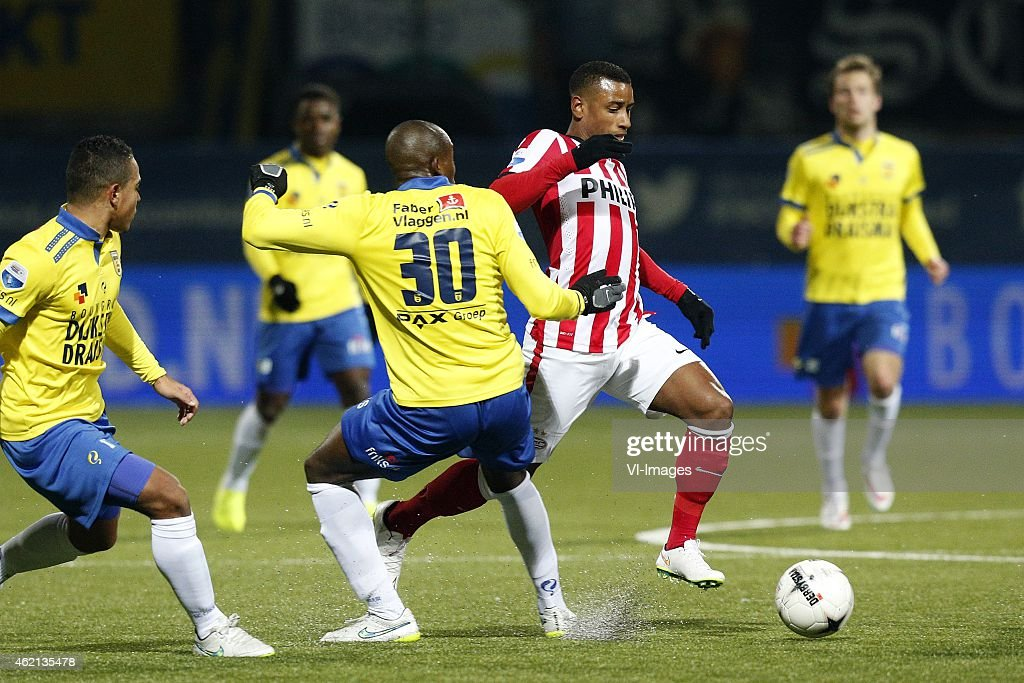 Lucas Bijker of SC Cambuur Calvin MacIntosh of SC Cambuur Luciano Narshingh of PSV during the Dutch Eredivisie match between SC Cambuur and PSV...