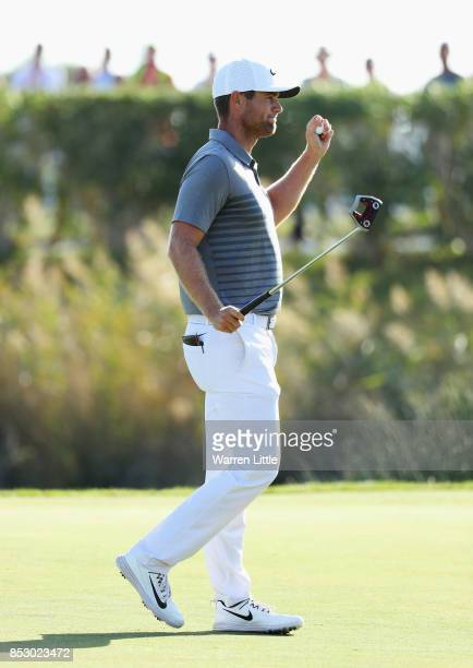 Lucas Bjerregaard of Denmark celebrates victory on the 18th green during day four of the Portugal Masters at Dom Pedro Victoria Golf Club on...