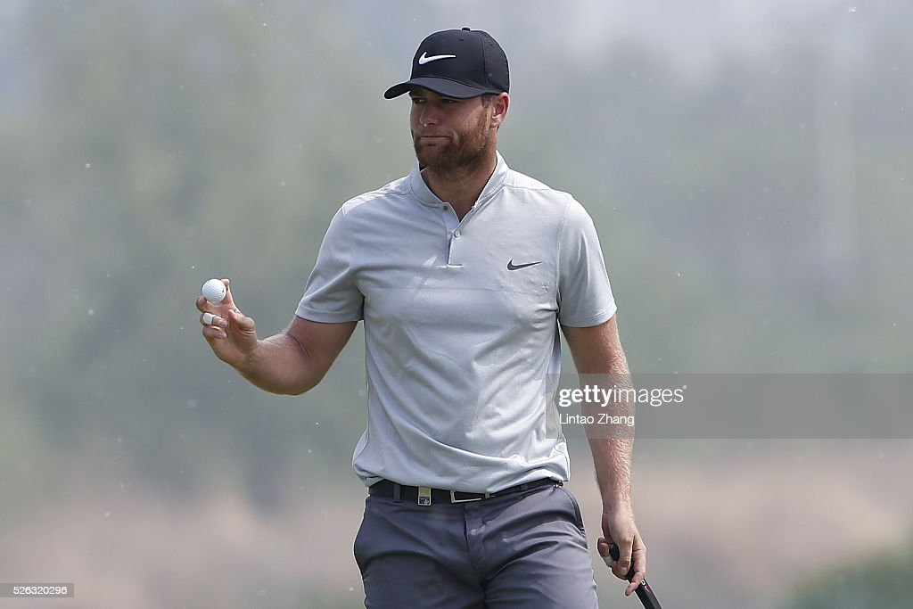 <a gi-track='captionPersonalityLinkClicked' href=/galleries/search?phrase=Lucas+Bjerregaard&family=editorial&specificpeople=6215709 ng-click='$event.stopPropagation()'>Lucas Bjerregaard</a> of Denmark elebrates after plays a shot during the third round of the Volvo China open at Topwin Golf and Country Club on April 30, 2016 in Beijing, China.
