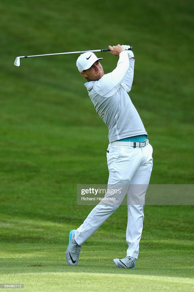 <a gi-track='captionPersonalityLinkClicked' href=/galleries/search?phrase=Lucas+Bjerregaard&family=editorial&specificpeople=6215709 ng-click='$event.stopPropagation()'>Lucas Bjerregaard</a> of Denmark hits his 2nd shot on the 4th hole during day one of the BMW PGA Championship at Wentworth on May 26, 2016 in Virginia Water, England.