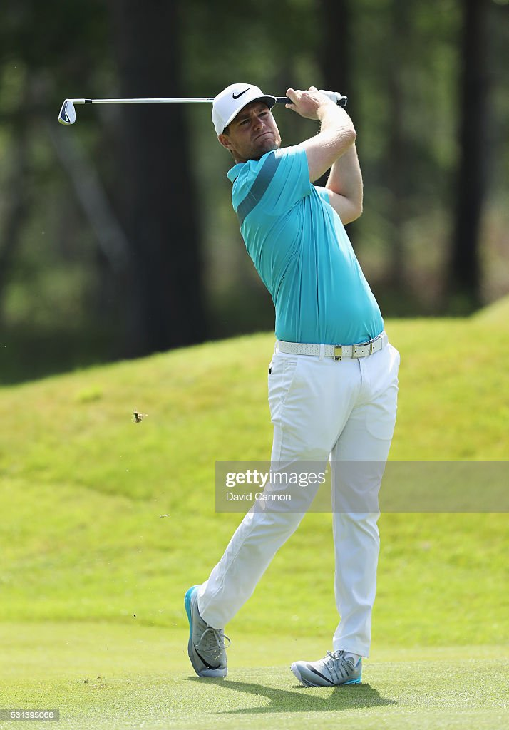 <a gi-track='captionPersonalityLinkClicked' href=/galleries/search?phrase=Lucas+Bjerregaard&family=editorial&specificpeople=6215709 ng-click='$event.stopPropagation()'>Lucas Bjerregaard</a> of Denmark hits his 2nd shot on the 9th hole during day one of the BMW PGA Championship at Wentworth on May 26, 2016 in Virginia Water, England.