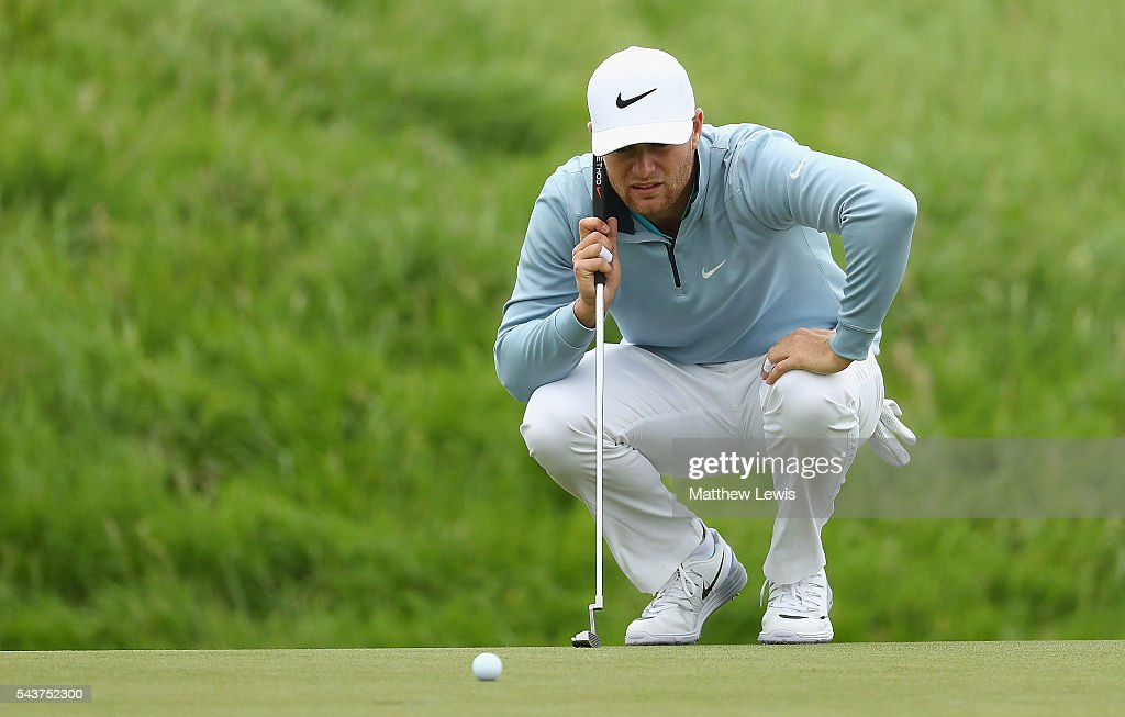 <a gi-track='captionPersonalityLinkClicked' href=/galleries/search?phrase=Lucas+Bjerregaard&family=editorial&specificpeople=6215709 ng-click='$event.stopPropagation()'>Lucas Bjerregaard</a> of Denmark lines up a putt during day one of the 100th Open de France at Le Golf National on June 30, 2016 in Paris, France.