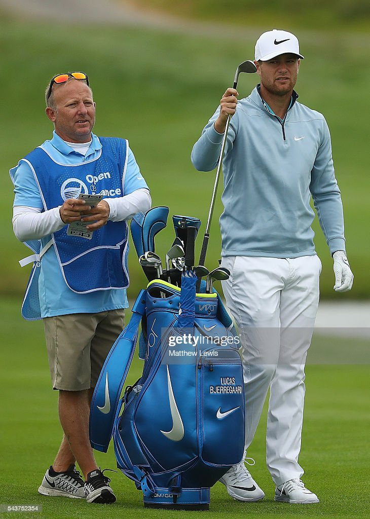 <a gi-track='captionPersonalityLinkClicked' href=/galleries/search?phrase=Lucas+Bjerregaard&family=editorial&specificpeople=6215709 ng-click='$event.stopPropagation()'>Lucas Bjerregaard</a> of Denmark looks on with his caddie during day one of the 100th Open de France at Le Golf National on June 30, 2016 in Paris, France.