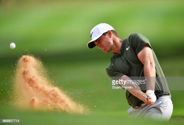 Lucas Bjerregaard of Denmark plays a bunker shot during the third round of the Trophee Hassan II at Royal Golf Dar Es Salam on April 15 2017 in Rabat...