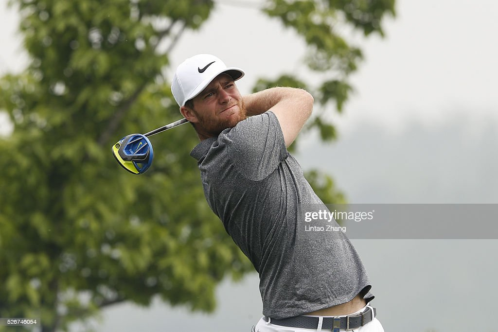Lucas Bjerregaard of Denmark plays a shot during the final round of the Volvo China open at Topwin Golf and Country Club on May 1, 2016 in Beijing, China.