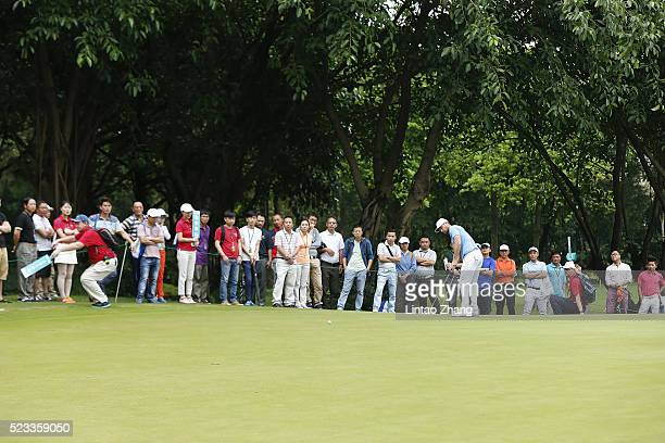 Lucas Bjerregaard of Denmark plays a shot during the second round of the Shenzhen International at Genzon Golf Club on April 22 2016 in Shenzhen China