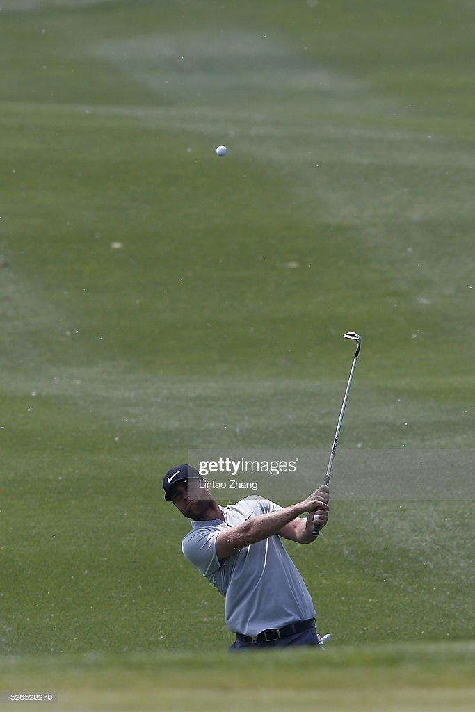 Lucas Bjerregaard of Denmark plays a shot during the third round of the Volvo China open at Topwin Golf and Country Club on April 30, 2016 in Beijing, China.