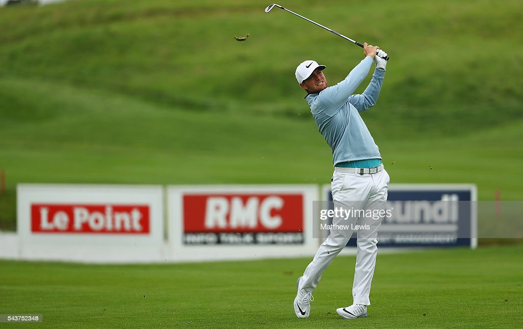 <a gi-track='captionPersonalityLinkClicked' href=/galleries/search?phrase=Lucas+Bjerregaard&family=editorial&specificpeople=6215709 ng-click='$event.stopPropagation()'>Lucas Bjerregaard</a> of Denmark plays a shot from the 9th fairway during day one of the 100th Open de France at Le Golf National on June 30, 2016 in Paris, France.