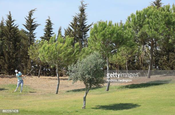 Lucas Bjerregaard of Denmark plays his second shot on the fifth hole during the third roiund of the 2017 Portugal Masters at Dom Pedro Victoria Golf...
