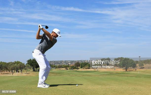 Lucas Bjerregaard of Denmark tees off on the 3rd hole during day four of the Portugal Masters at Dom Pedro Victoria Golf Club on September 24 2017 in...