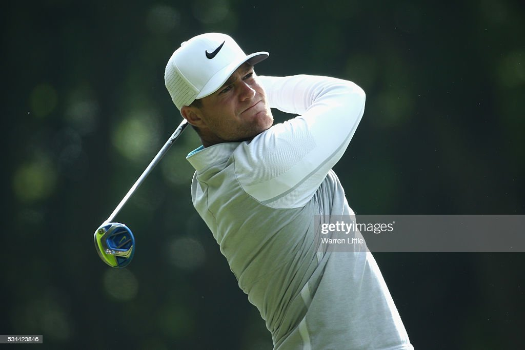 <a gi-track='captionPersonalityLinkClicked' href=/galleries/search?phrase=Lucas+Bjerregaard&family=editorial&specificpeople=6215709 ng-click='$event.stopPropagation()'>Lucas Bjerregaard</a> of Denmark tees off on the 3rd hole during day one of the BMW PGA Championship at Wentworth on May 26, 2016 in Virginia Water, England.