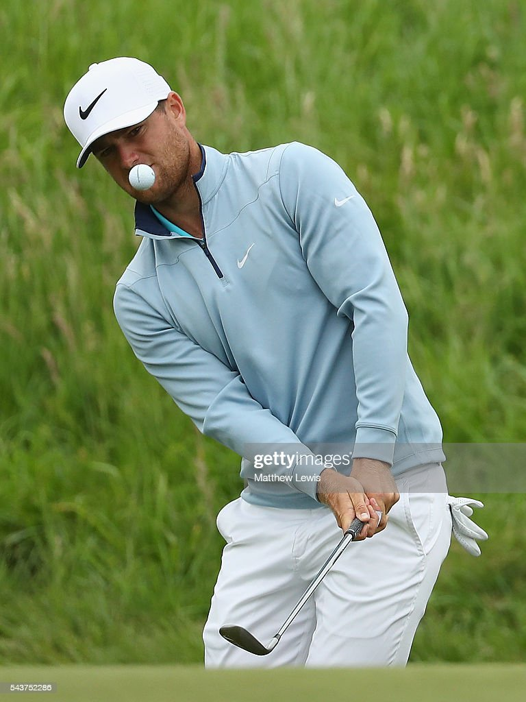<a gi-track='captionPersonalityLinkClicked' href=/galleries/search?phrase=Lucas+Bjerregaard&family=editorial&specificpeople=6215709 ng-click='$event.stopPropagation()'>Lucas Bjerregaard</a> of Denmarkchips onto the 9th green during day one of the 100th Open de France at Le Golf National on June 30, 2016 in Paris, France.