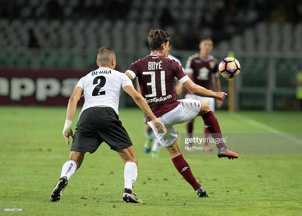 Lucas Boy and Filippo Berra during Tim Cup 20162017 match between Torino FC and FC Pro Vercelli at the Olympic Stadium of Turin on august 013 2016 in...