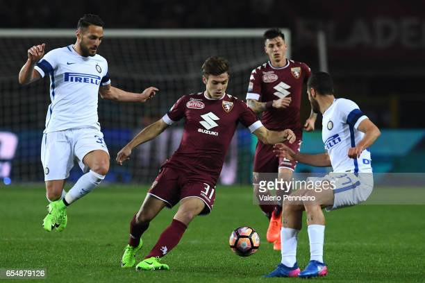 Lucas Boye of FC Torino in action against Danilo D Ambrosio of FC Internazionale during the Serie A match between FC Torino and FC Internazionale at...