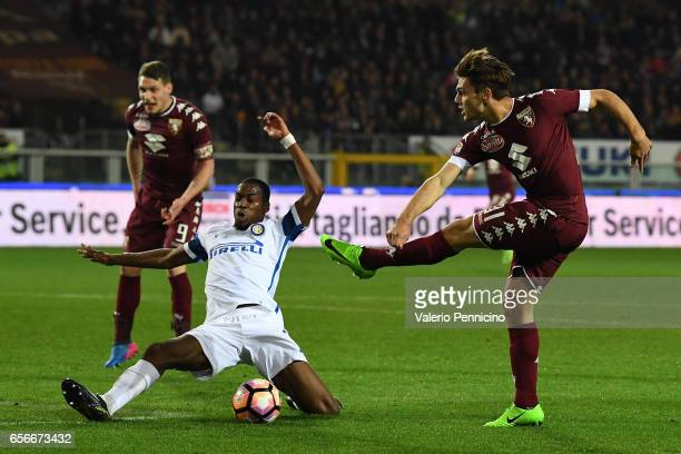 Lucas Boye of FC Torino in action against Geoffrey Kondogbia of FC Internazionale during the Serie A match between FC Torino and FC Internazionale at...