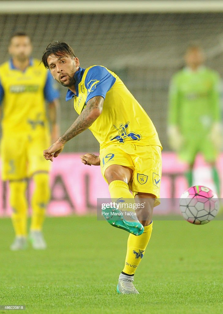 <a gi-track='captionPersonalityLinkClicked' href=/galleries/search?phrase=Lucas+Castro&family=editorial&specificpeople=5806212 ng-click='$event.stopPropagation()'>Lucas Castro</a> of AC Chievo in action during the Serie A match between AC Chievo Verona and SS Lazio at Stadio Marc'Antonio Bentegodi on August 30, 2015 in Verona, Italy.