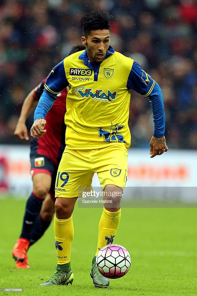 Lucas Castro of AC Chievo Verona in action during the Serie A match between Genoa CFC and AC Chievo Verona at Stadio Luigi Ferraris on October 18...