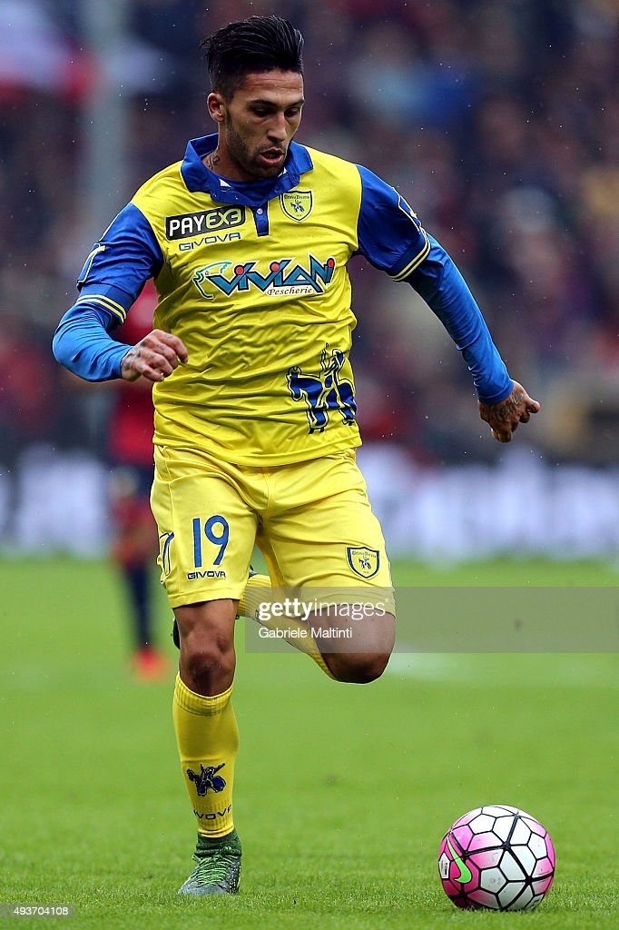 <a gi-track='captionPersonalityLinkClicked' href=/galleries/search?phrase=Lucas+Castro&family=editorial&specificpeople=5806212 ng-click='$event.stopPropagation()'>Lucas Castro</a> of AC Chievo Verona in action during the Serie A match between Genoa CFC and AC Chievo Verona at Stadio Luigi Ferraris on October 18, 2015 in Genoa, Italy.