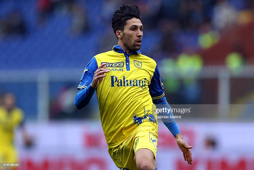 Lucas Castro of AC Chievo Verona in action during the Serie A match between UC Sampdoria and AC Chievo Verona at Stadio Luigi Ferraris on March 20...