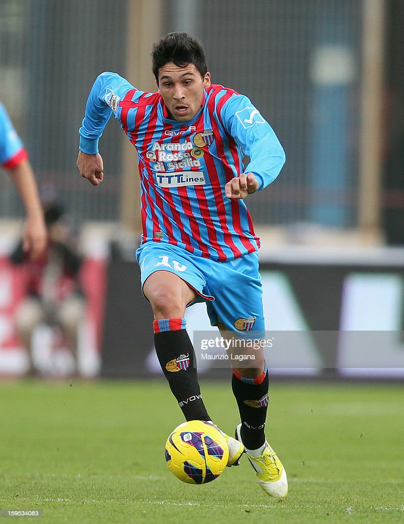 Lucas Castro of Catania during the Serie A match between Calcio Catania and AS Roma at Stadio Angelo Massimino on January 13 2013 in Catania Italy