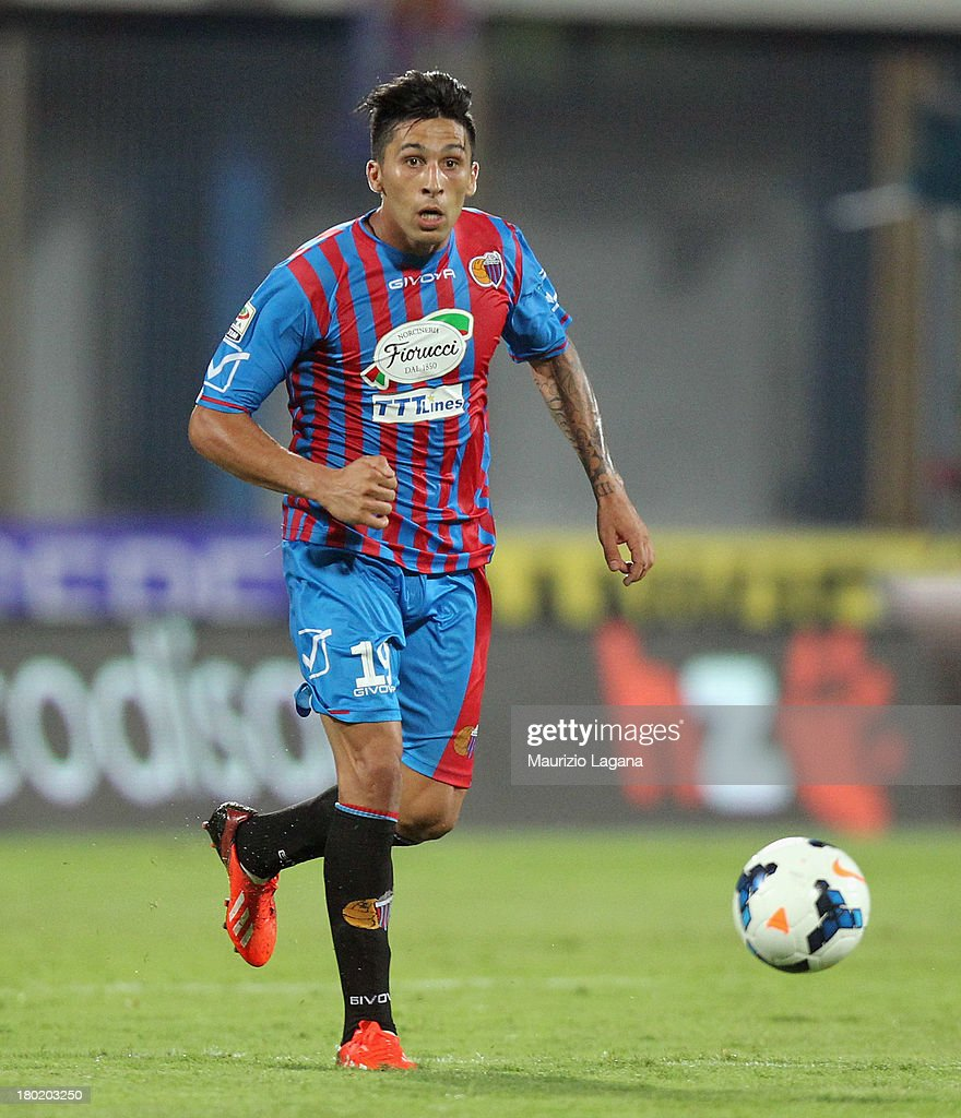 <a gi-track='captionPersonalityLinkClicked' href=/galleries/search?phrase=Lucas+Castro&family=editorial&specificpeople=5806212 ng-click='$event.stopPropagation()'>Lucas Castro</a> of Catania during the Serie A match between Calcio Catania and FC Internazionale Milano at Stadio Angelo Massimino on September 1, 2013 in Catania, Italy.