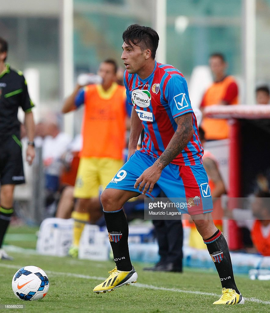 Lucas Castro of Catania during the Serie A match between Calcio Catania and AC Chievo Verona at Stadio Angelo Massimino on September 29 2013 in...
