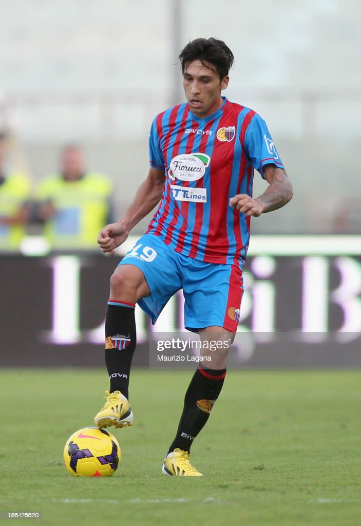 Lucas Castro of Catania during the Serie A match between Calcio Catania and US Sassuolo Calcio at Stadio Angelo Massimino on October 27 2013 in...