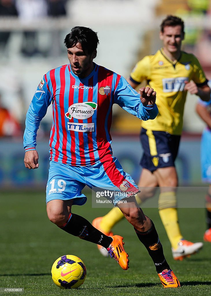 Lucas Castro of Catania during the Serie A match between Calcio Catania and SS Lazio at Stadio Angelo Massimino on February 16 2014 in Catania Italy