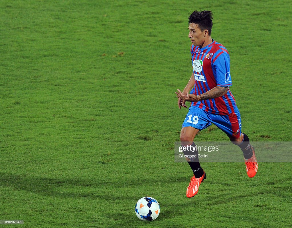 Lucas Castro of Catania in action during the Serie A match between Calcio Catania and FC Internazionale Milano at Stadio Angelo Massimino on...