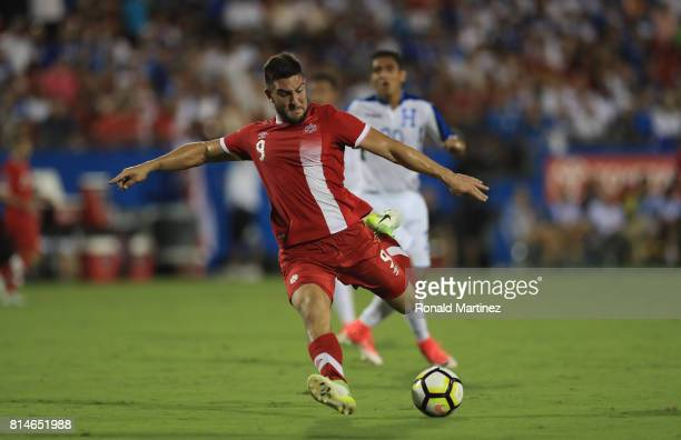 Lucas Cavallini of Canada takes a shot on goal against Honduras during the 2017 CONCACAF Gold Cup at Toyota Stadium on July 14 2017 in Frisco Texas