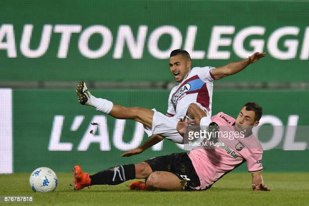 Lucas Chiaretti of Cittadella and Mato Jajalo of Palermo compete for the ball during the Serie B match between US Citta' di Palermo and Cittadella at...