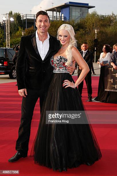 Lucas Cordalis and Daniela Katzenberger attend the red carpet of the Deutscher Fernsehpreis 2014 on October 02 2014 in Cologne Germany