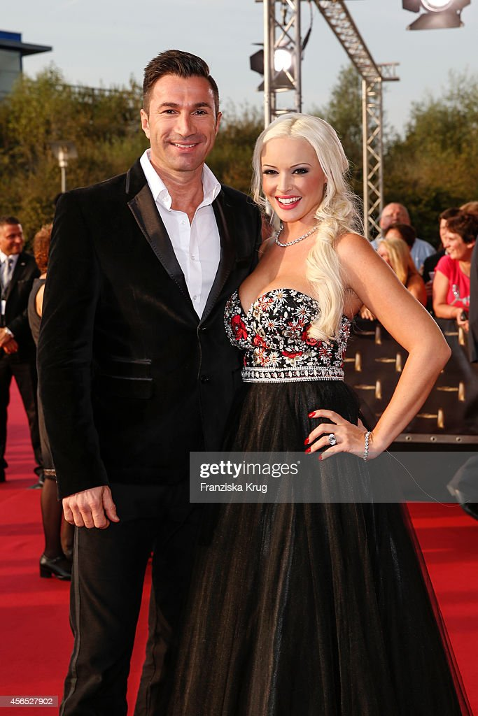 Lucas Cordalis and Daniela Katzenberger attend the red carpet of the Deutscher Fernsehpreis 2014 on October 02, 2014 in Cologne, Germany.