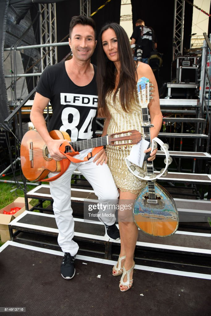 Lucas Cordalis and his sister Kiki Cordalis attend the Radio B2 SchlagerHammer Open-Air-Festival at Rennbahn on July 15, 2017 in Berlin, Germany.