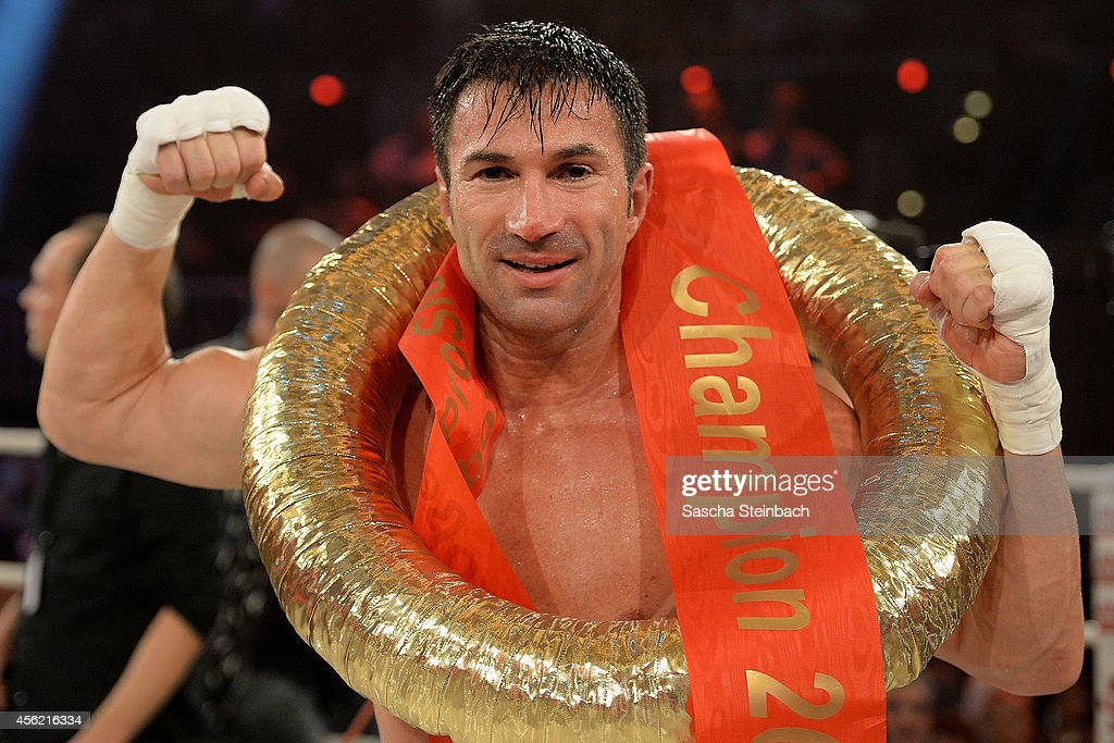 Lucas Cordalis celebrates after winning his fight against Marcus Schenkenberg (not pictured) during the 'Das Grosse Prosieben Promiboxen' tv show at Castello on September 27, 2014 in Duesseldorf, Germany.