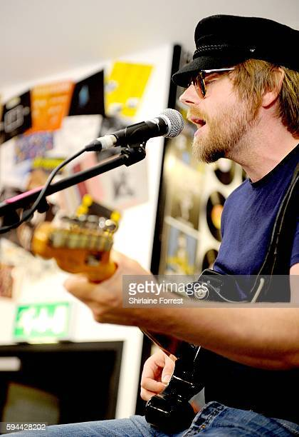 Lucas Crowther of The Rifles performs live and meets fans to celebrate the launch of their album 'Big Life' at HMV Manchester on August 23 2016 in...